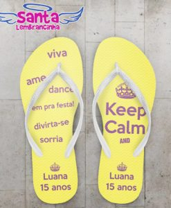 Chinelo 15 anos keep calm personalizado – cod 2242