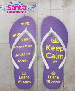 Chinelo keep calm 15 anos personalizado – cod 2243