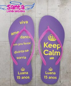 Chinelo Keep Calm 15 Anos Personalizado - COD 2243