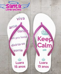 Chinelo 15 anos Keep Calm personalizado - COD 2179