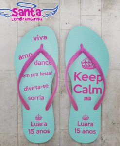 Chinelo 15 anos personalizado, keep calm – cod 2178