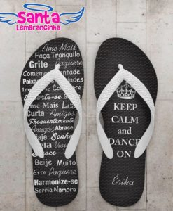 Chinelo 15 Anos Keep Calm Prata - COD 2824