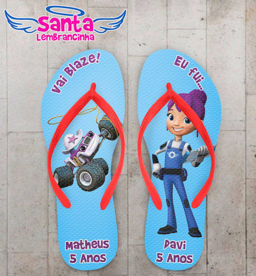 Chinelo infantil blaze and the monster machines, starla e gabby personalizado cod 5478