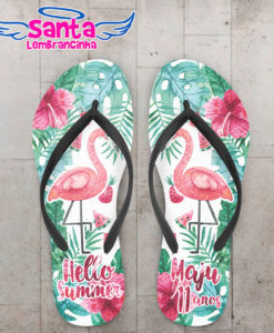 Chinelo infantil pool party flamingo e flores cod 5959