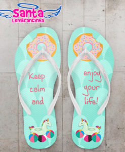 Chinelo personalizado infantil pool party unicórnio cod 6772